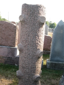 A Jewish tradition was to use this headstone to symbolize a young life cut down in its prime.